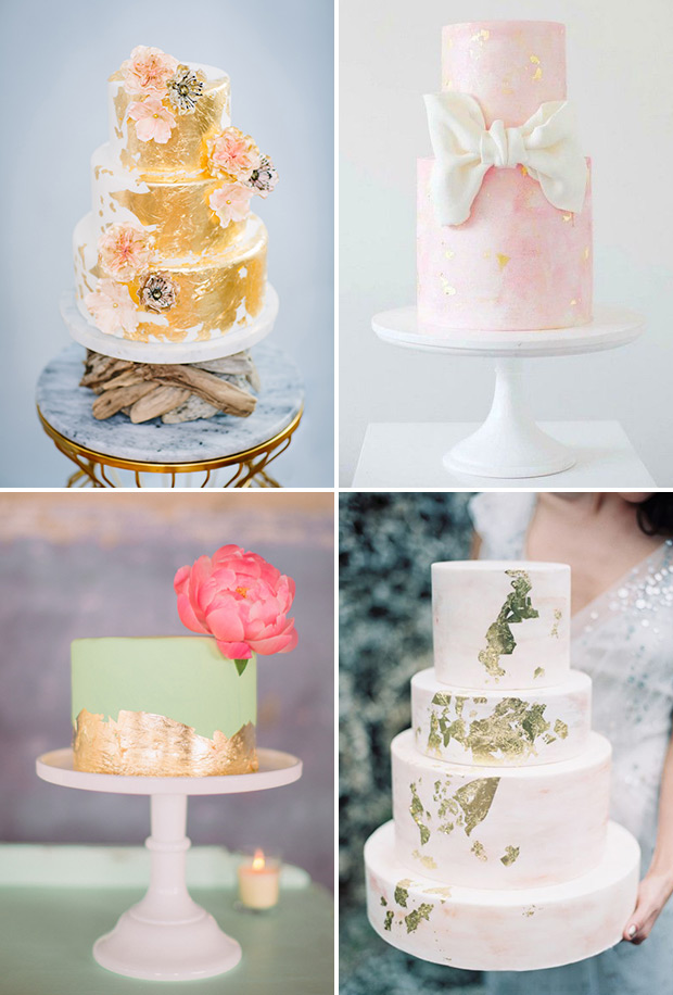gold-leaf-wedding-cakes | Cabo Flowers and Cakes
